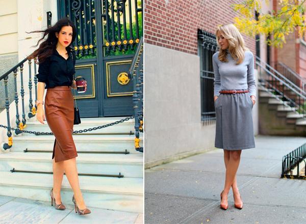 Коричневые лодочки + юбка = идеальная женственность