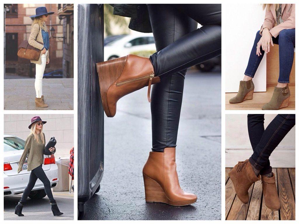Коричневая обувь на танкетке прекрасно смотрится с узкими брюками.