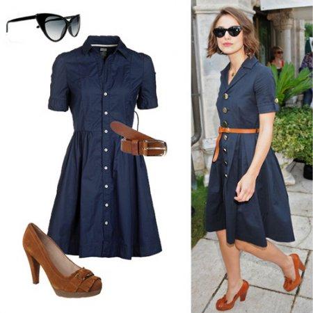 Синее платье с коричневой обувью и аксессуарами приобретает особое очарование.