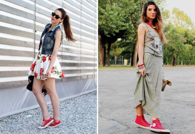 """Красные кроссовки добавляют """"вкуса"""" летним образом с платьями."""