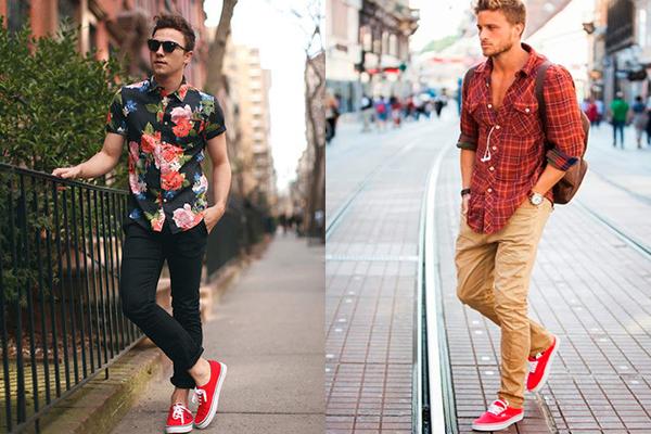 Красные кроссовки, как базовый элемент гардероба мужчины смотрятся удачно всегда!