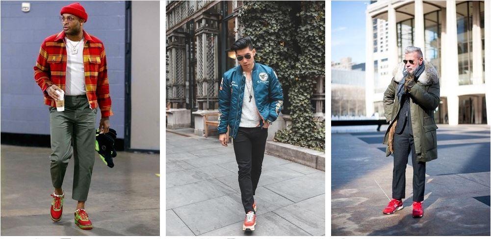 Красные кроссовки прекрасно сочетаются со всеми базовыми оттенками мужского гардероба.
