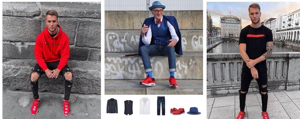 Классические сочетания красных кроссовок с черным и темно-синим гардеробом.