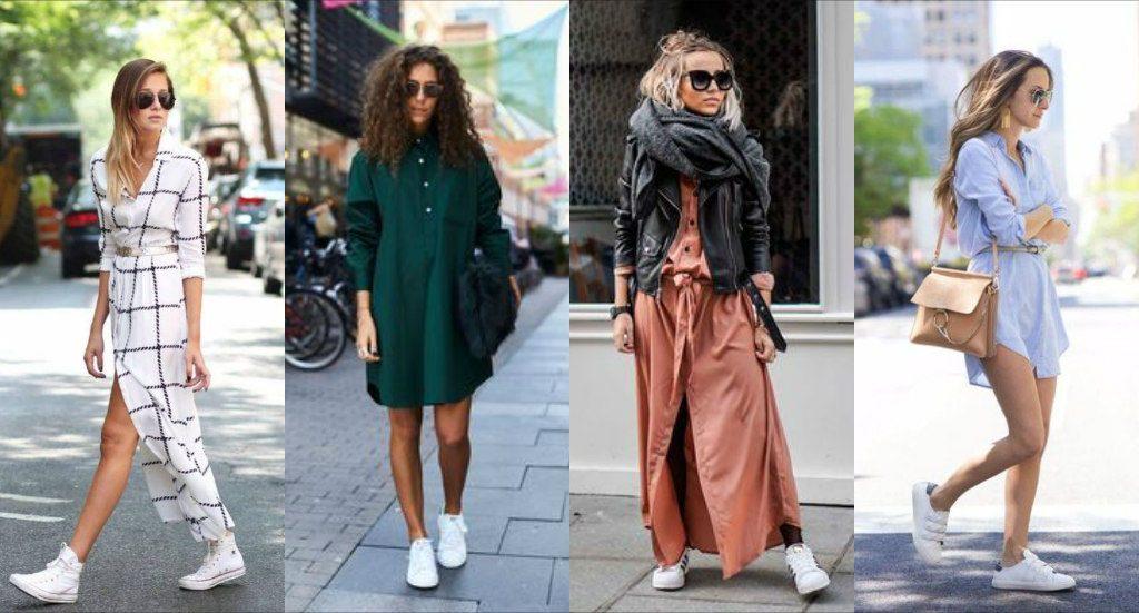 Кроссовки смотрятся эффектно с платьем любой длины: мини, миди и макси.