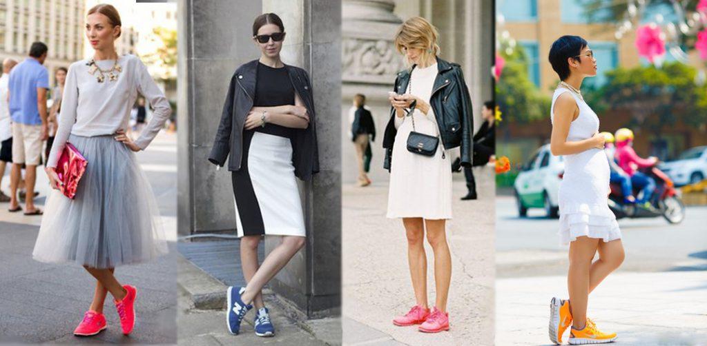 Используйте красочные кроссовки, чтобы дополнить пастельный образ, сделав его насыщенным и гармоничным.