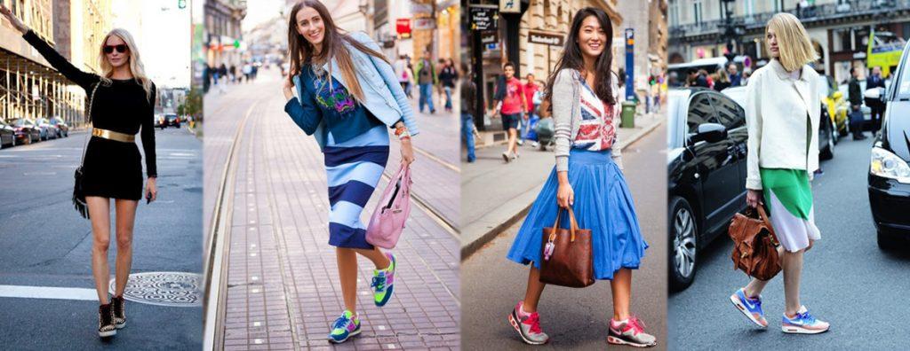 Яркие кроссовки оживят образ, притянув внимание к красивым ножкам.