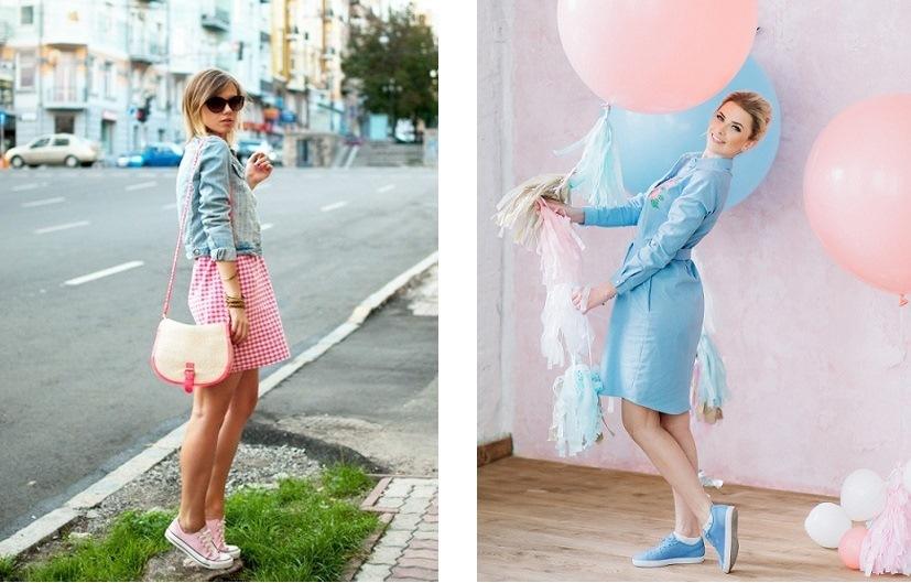 Розовые и голубые кроссовки в тон образу незаменимы при создании луков в стиле doll.