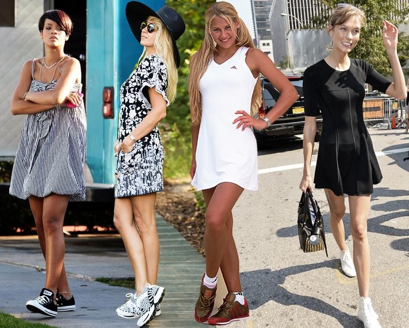 Платье мини и кроссовки – прекрасное сочетание для соблазнительного летнего образа.