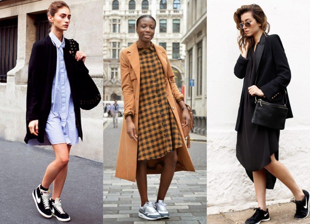 Платья миди с кроссовками приобретают особенную элегантность.