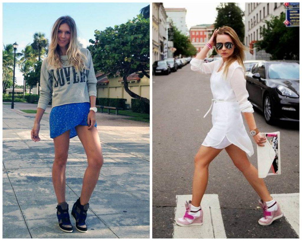 Короткие «теннисные» платья просто созданы в пару к кроссовкам, для вечера всегда можно добавить толстовку.