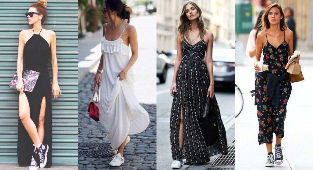 Платья макси с минималистичными кроссовками выглядят соблазнительно и необычно.