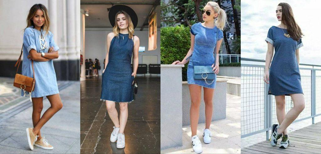 Джинс в паре с кроссовками – это всегда идеально, даже если речь идет о платье.