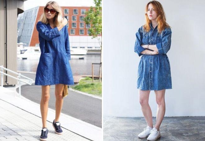 Джинсовые платья оверсайз идеально дополняются кроссовками для ненавязчивости и изящности образа.