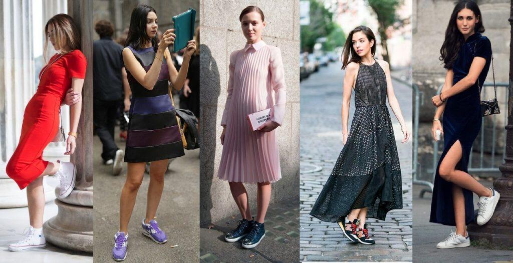 Спортивная обувь только подчеркнет очарование платья и женственность образа.