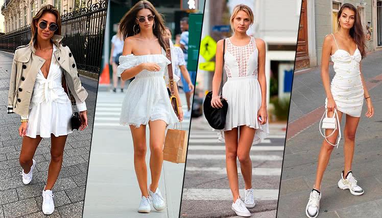 Нежные платья бельевого стиля в кроссовками подчеркнут женственность своей обладательницы.