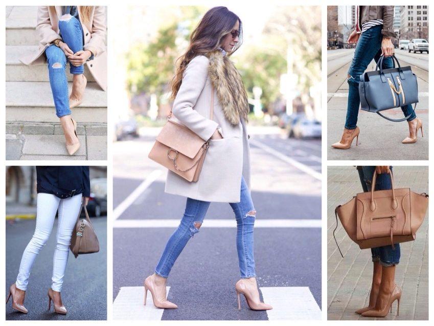 Джинсы в сочетании с бежевыми лаковыми туфлями - маст хев модного сезона.