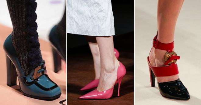 Декор на лаковых туфлях должен быть умеренным, или вовсе отсутствовать.