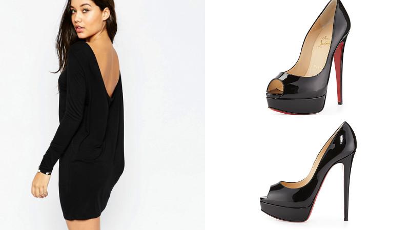 Маленькое черное платьице и лаковые туфли на каблуке - идеальная пара.