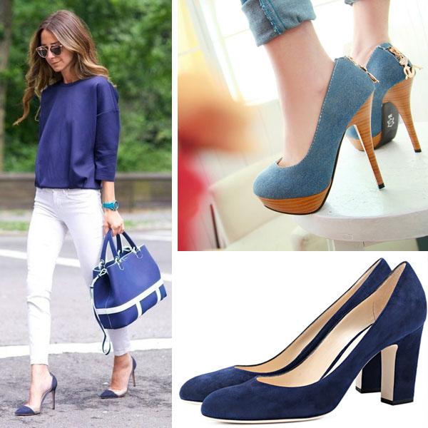 Туфельки синего цвета идеально вписываются  в любой летний гардероб.