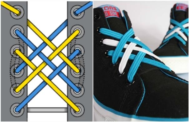 Шнуровка-паутинка подходит для ярких кроссовок с контрастными шнурками.