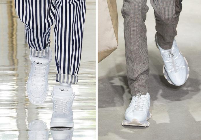 Белые кроссовки идеальны для летних образов с контрастными по цвету брюками.