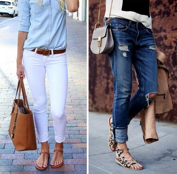 Укороченные брюки и босоножки на плоском ходу - лучшее сочетание для отпуска.