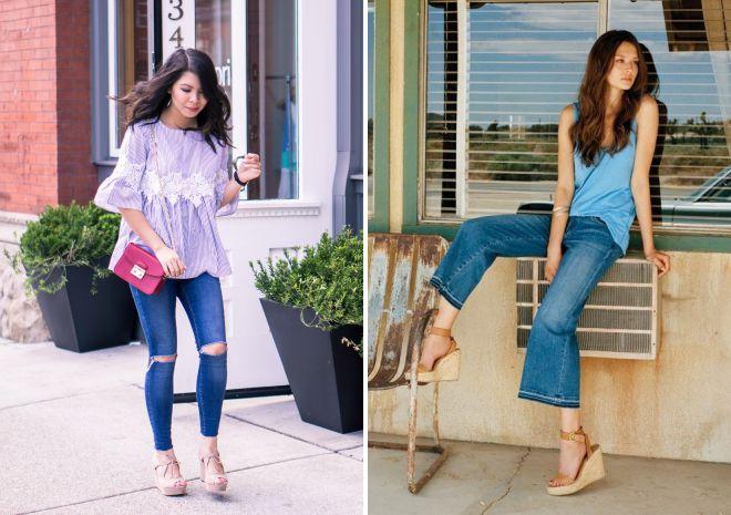 Босоножки на танкетке идеально дополняют джинсы.