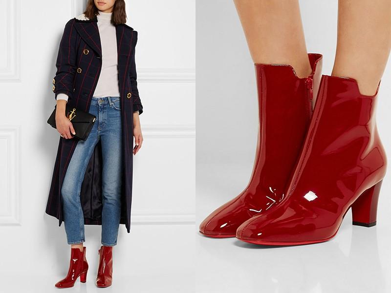 Красные ботинки прекрасно дополнят классический образ с джинсами и пальто