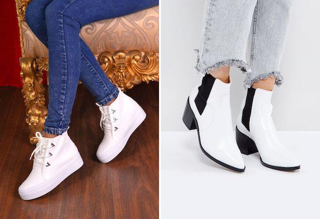 Белые ботинки всегда смотрятся эффектно и стильно.