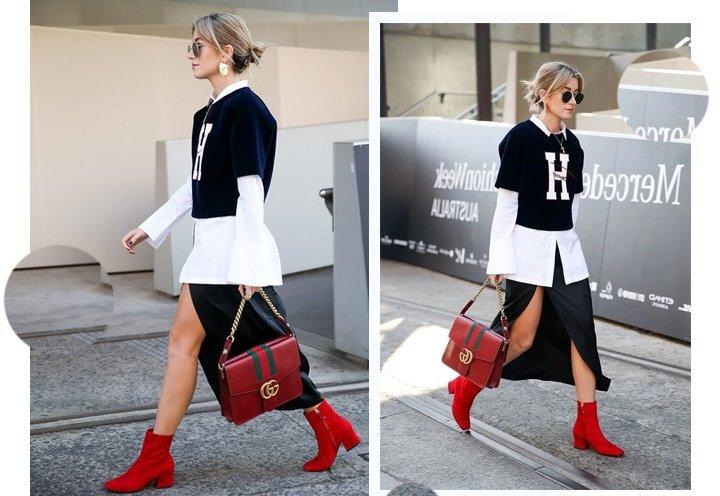 Эффектное сочетание базового черно-белого образа с красными ботинками.