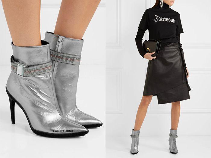 Черная юбка и серебристые ботинки создадут отличный выходной образ.