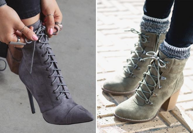 Ботинки на шнуровке - всегда модная классика.