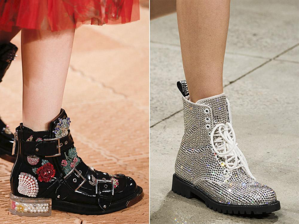 Яркие ботинки со стразами для смелых модниц.