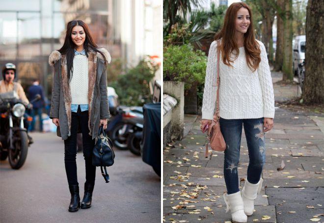 Короткие сапоги под джинсы или узкие брюки - классика уличного жанра.