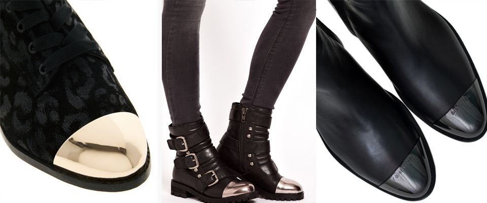 Металлические носки придают обуви выразительности и стиля.