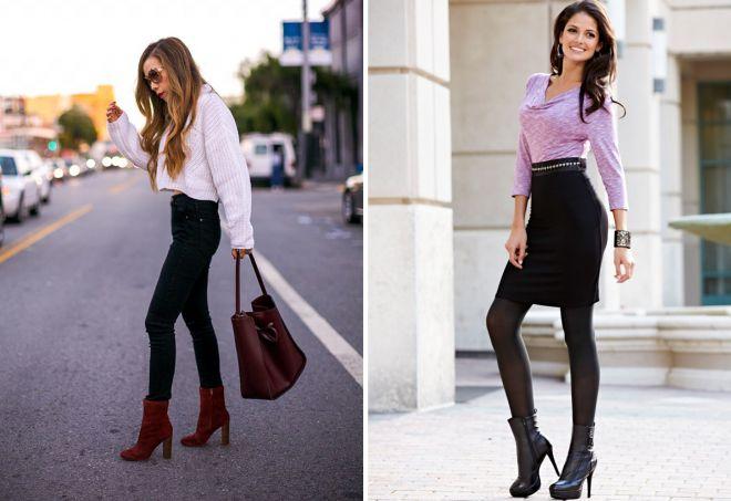Короткие сапоги на каблуке идеально подчеркивают стройность фигуры.
