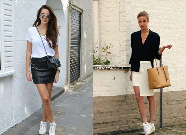 Белые кроссовки отлично дополняют монохромные образы с мини.