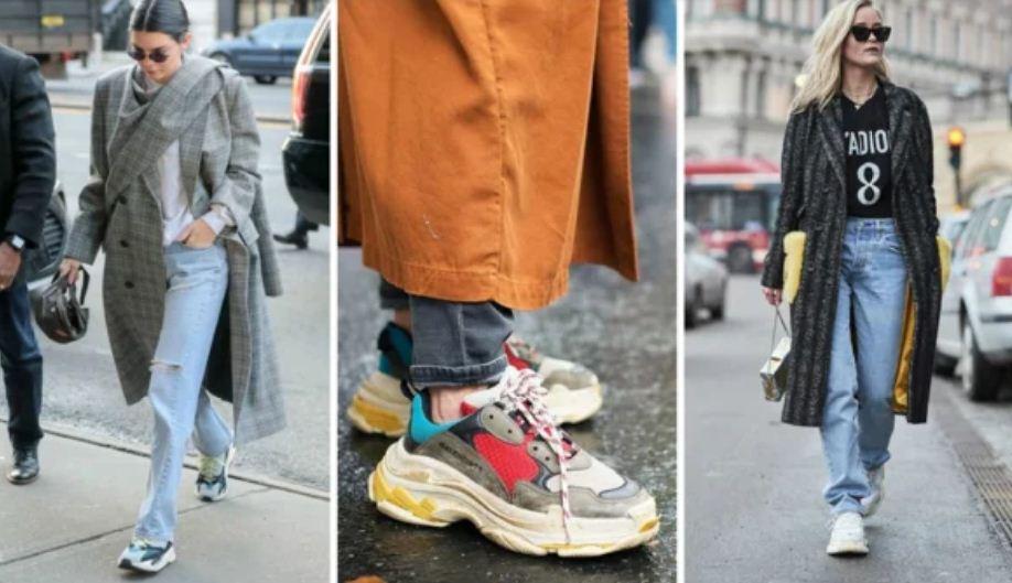Массивные кроссовки отлично дополняют модели джинсов mom.