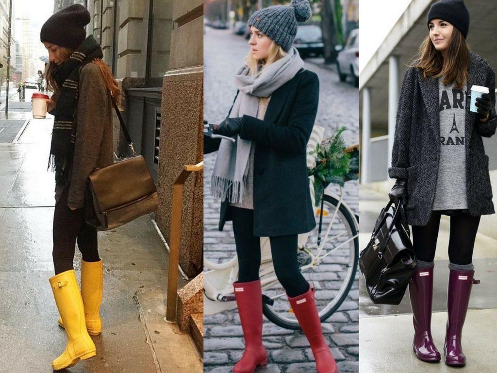 Даже в холодное время удастся с резиновыми сапогами сделать образ стильным и привлекательным