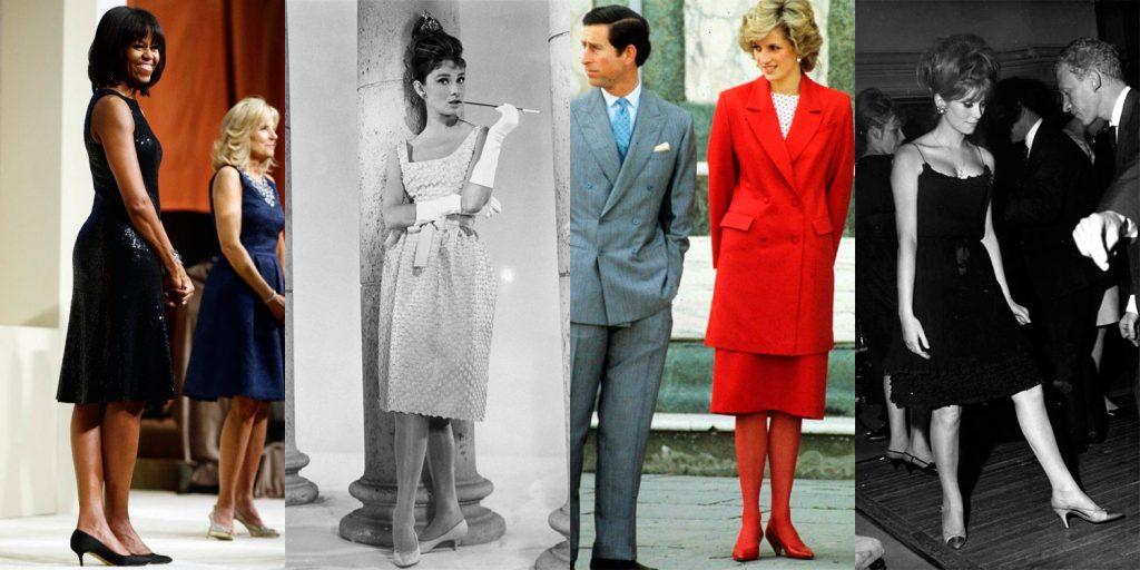 Kitten heels — классика, которая любима годами. В XX веке каблук-рюмочка красовался на ногах Одри Хепберн и принцессы Дианы, сегодня он все так же актуален в образе Мишель Обамы.