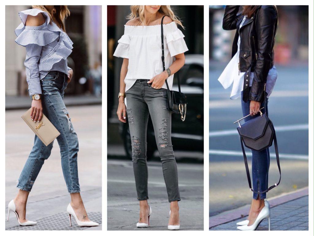 Надев туфли, джинсы, рубашку и кожаную куртку, вы будете в стиле casual, а заменив верх на блузу с воланами, образ получится легким и романтичным.