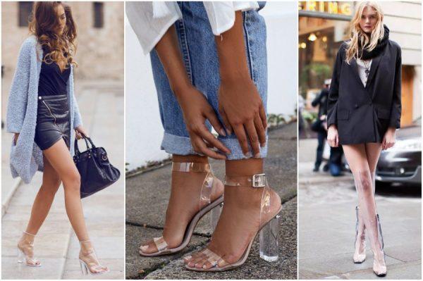 Обувь из пластика подойдет для повседневного лука. Сочетать ее можно как с джинсами, так и с юбкой.