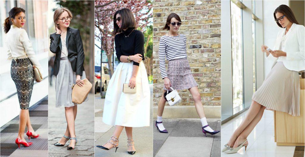 Туфли на среднем и невысоком каблуке Kitten heels прекрасно смотрятся с прямыми и пышными юбками.
