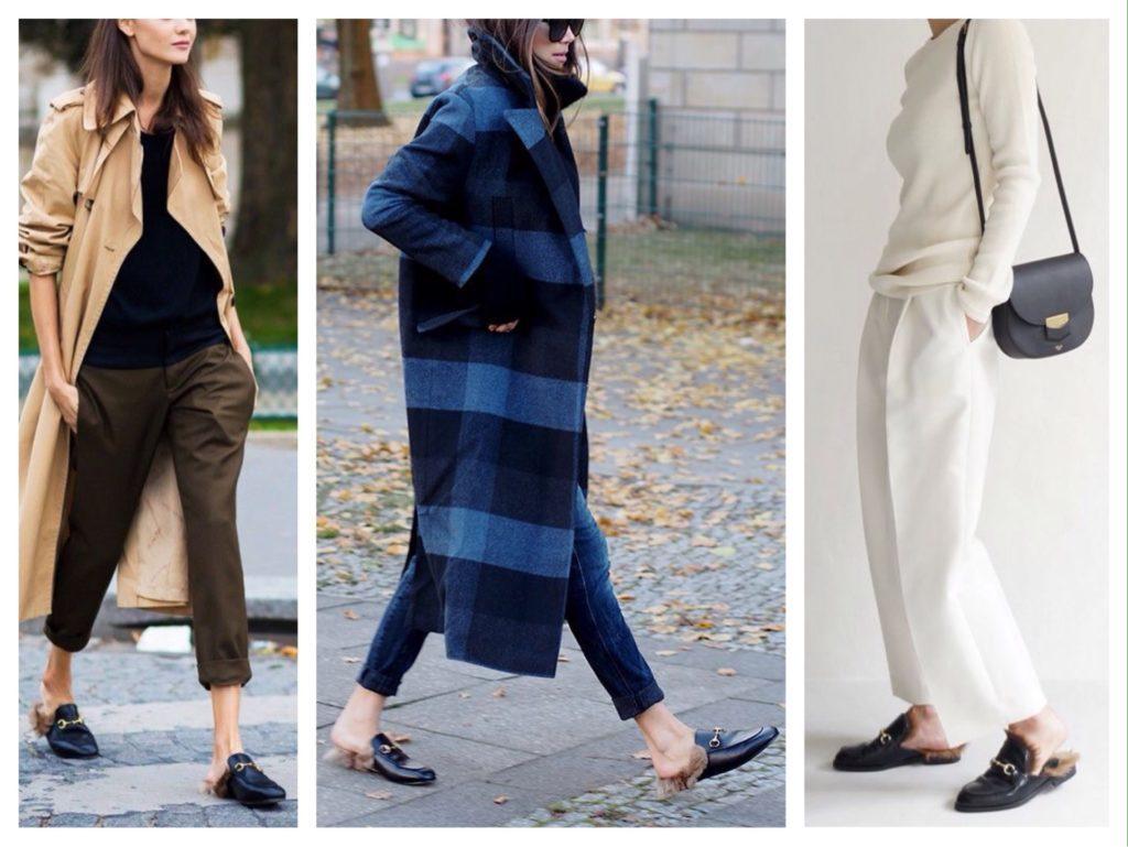 Мюли по-прежнему актуальны. Они отлично дополнят лук с укороченными штанами, тренчем и пальто oversize.