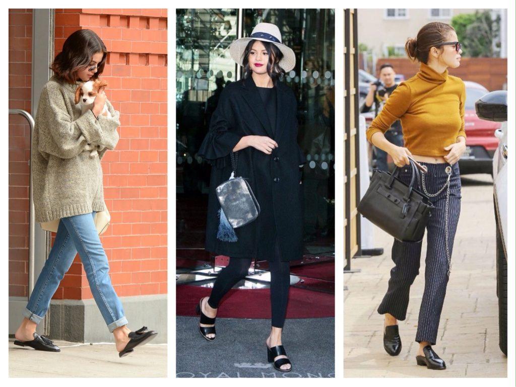 Селена Гомес удачно скомбинировала черные мюли на плоском ходу с брюками в полоску и свитером горчичного цвета, а также с джинсами и свитером oversize. Каблук актриса надела с элегантным темным тренчем и лосинами.