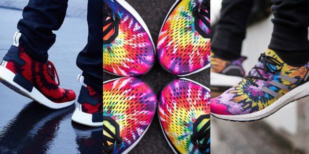 Необычно яркие кроссовки Tie Dye очень эффектно смотрятся