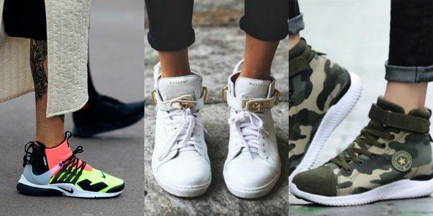 Высокие кроссовки подчеркивают изящность ножки.