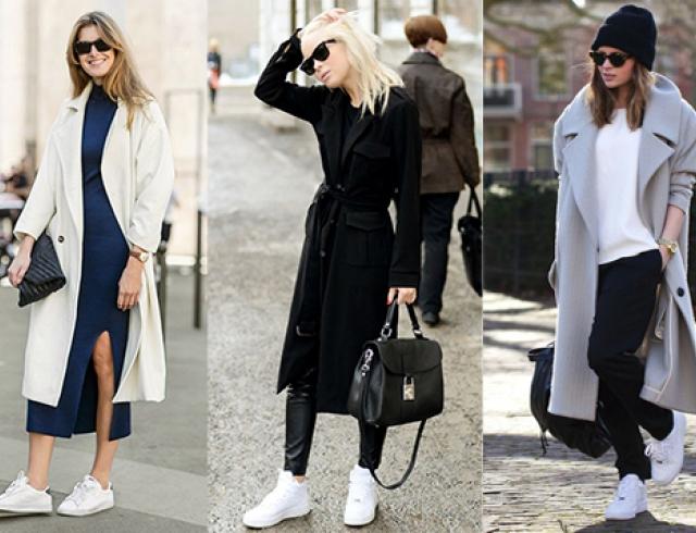 Белые кроссовки – классика для женского зимнего гардероба.