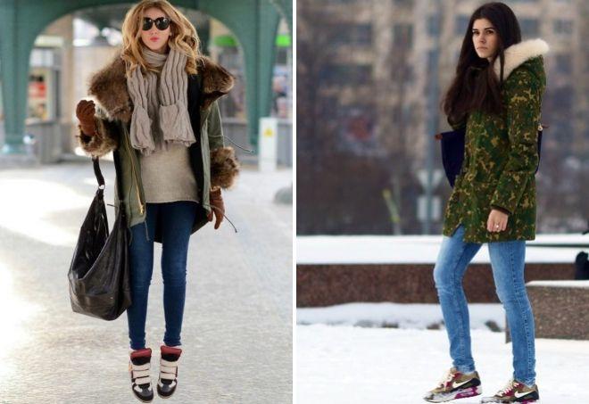Кроссовки и парка – классика женского зимнего образа.