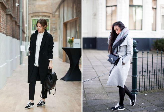 Черно-белые кроссовки отлично подчеркнут элегантность образа с пальто.